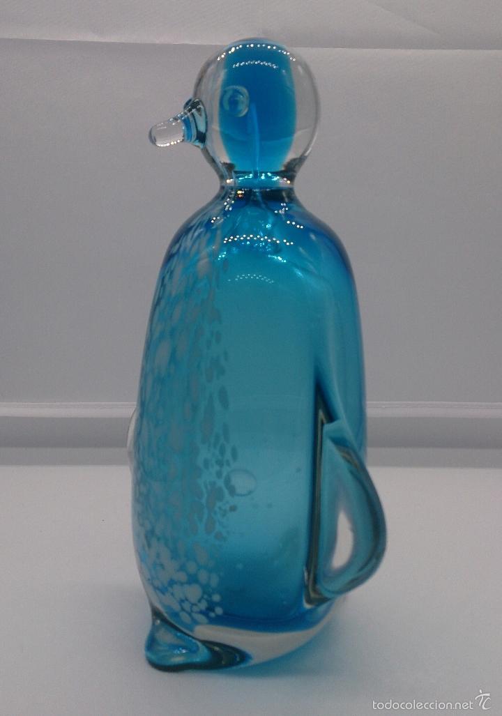 Antigüedades: Gran pisapapeles retro en cristal de murano autentico azul con motas blancas, medidos del siglo XX . - Foto 3 - 55267424