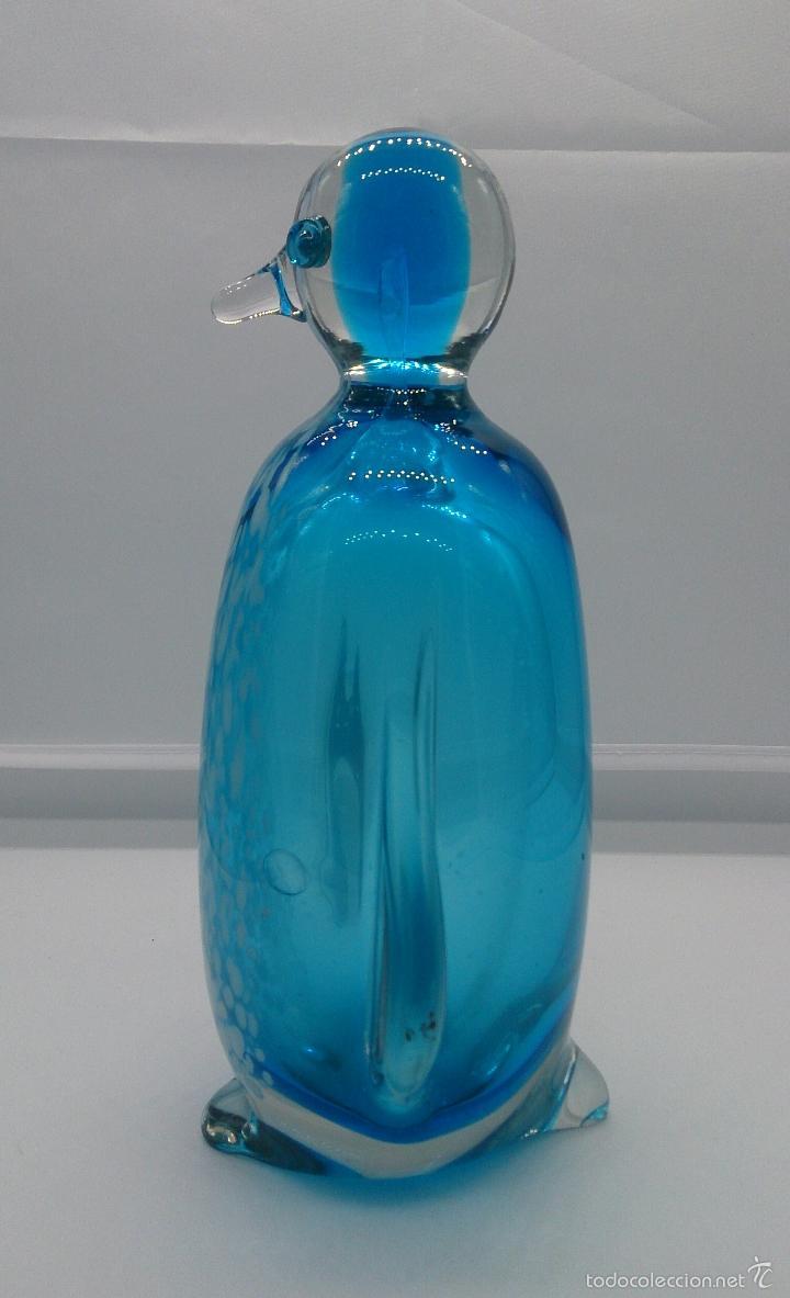 Antigüedades: Gran pisapapeles retro en cristal de murano autentico azul con motas blancas, medidos del siglo XX . - Foto 4 - 55267424