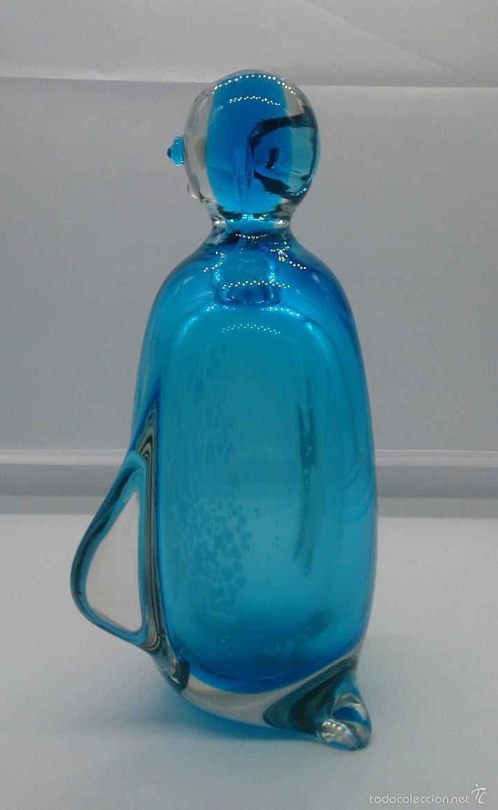Antigüedades: Gran pisapapeles retro en cristal de murano autentico azul con motas blancas, medidos del siglo XX . - Foto 5 - 55267424