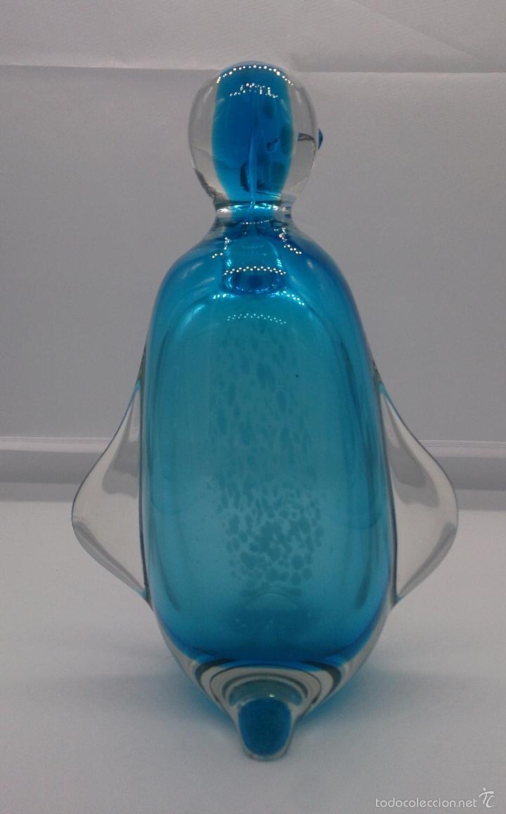 Antigüedades: Gran pisapapeles retro en cristal de murano autentico azul con motas blancas, medidos del siglo XX . - Foto 6 - 55267424