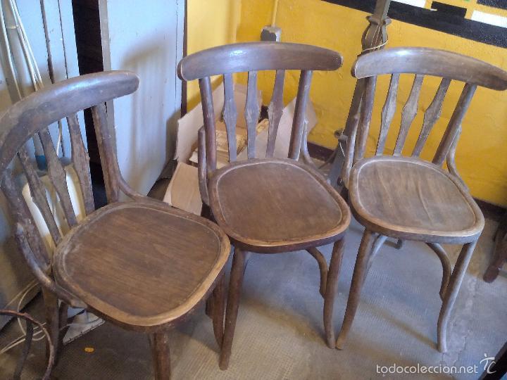 Tres sillas de bar antiguas de madera precis comprar - Sillas antiguas de madera ...