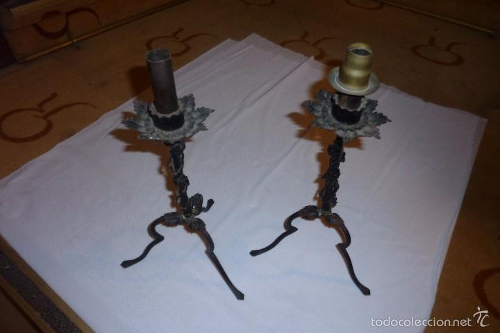 Antigüedades: Pareja de portavelas/candelabros. - Foto 2 - 55320767