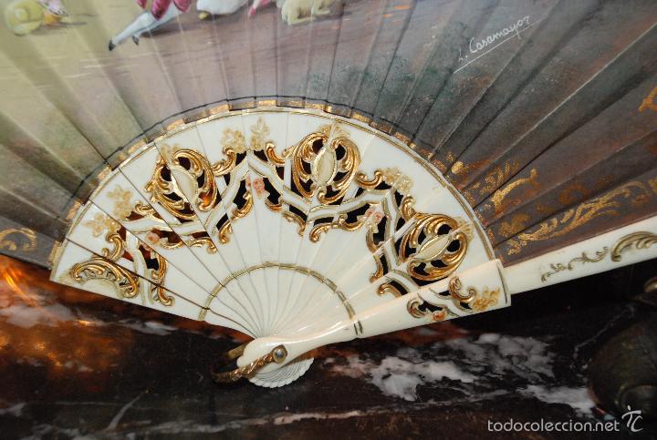 Antigüedades: BONITO ABANICO PINTADO CON VARILLAJE DE HUESO - Foto 3 - 55321443