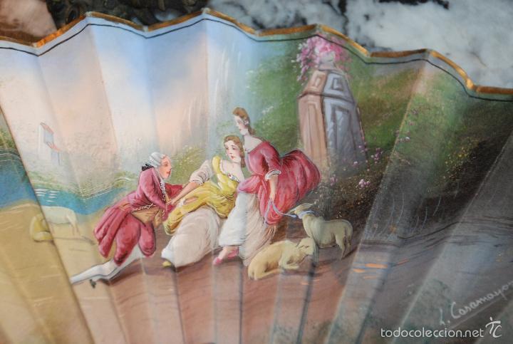 Antigüedades: BONITO ABANICO PINTADO CON VARILLAJE DE HUESO - Foto 4 - 55321443