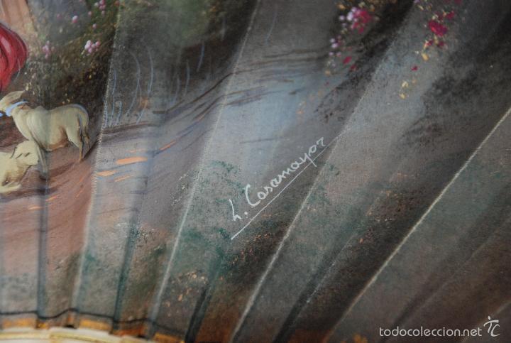 Antigüedades: BONITO ABANICO PINTADO CON VARILLAJE DE HUESO - Foto 5 - 55321443