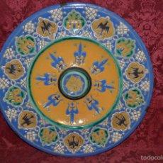 Antigüedades: EXCEPCIONAL PLATO EN CUERDA SECA DE BUEN TAMAÑO EN CERAMICA DE TRIANA,(SEVILLA),S. XIX. Lote 55324477