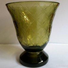Antigüedades: ANTIGUO JARRÓN O FLORERO CRISTAL TALLADO. Lote 55356882