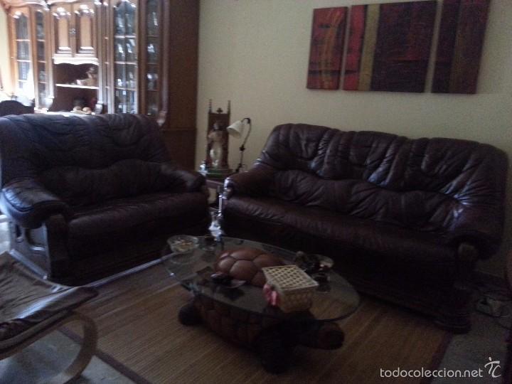 Sillones 3x2.Sofa 3x2 De Piel Y Armadura De Madera Maciza Sold Through