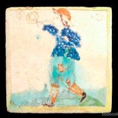 Antigüedades: C304.- RAJOLA / AZULEJO CATALAN DE LA SERIE ARTS I OFICIS.- MUSICO CON TROMPA. Lote 55368458