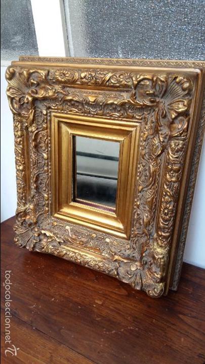 pequeo espejo en marco de madera y estuco antigedades muebles antiguos espejos