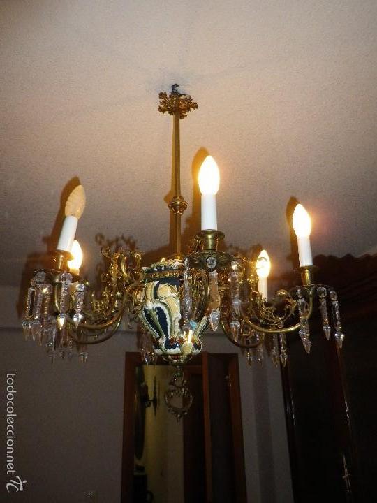 Antigüedades: Lampara de techo de bronce y cerámica - Foto 2 - 55377800