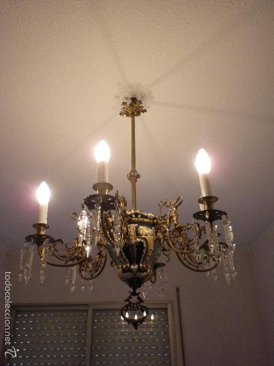 Antigüedades: Lampara de techo de bronce y cerámica - Foto 3 - 55377800