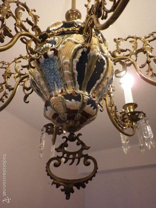 LAMPARA DE TECHO DE BRONCE Y CERÁMICA (Antigüedades - Iluminación - Lámparas Antiguas)