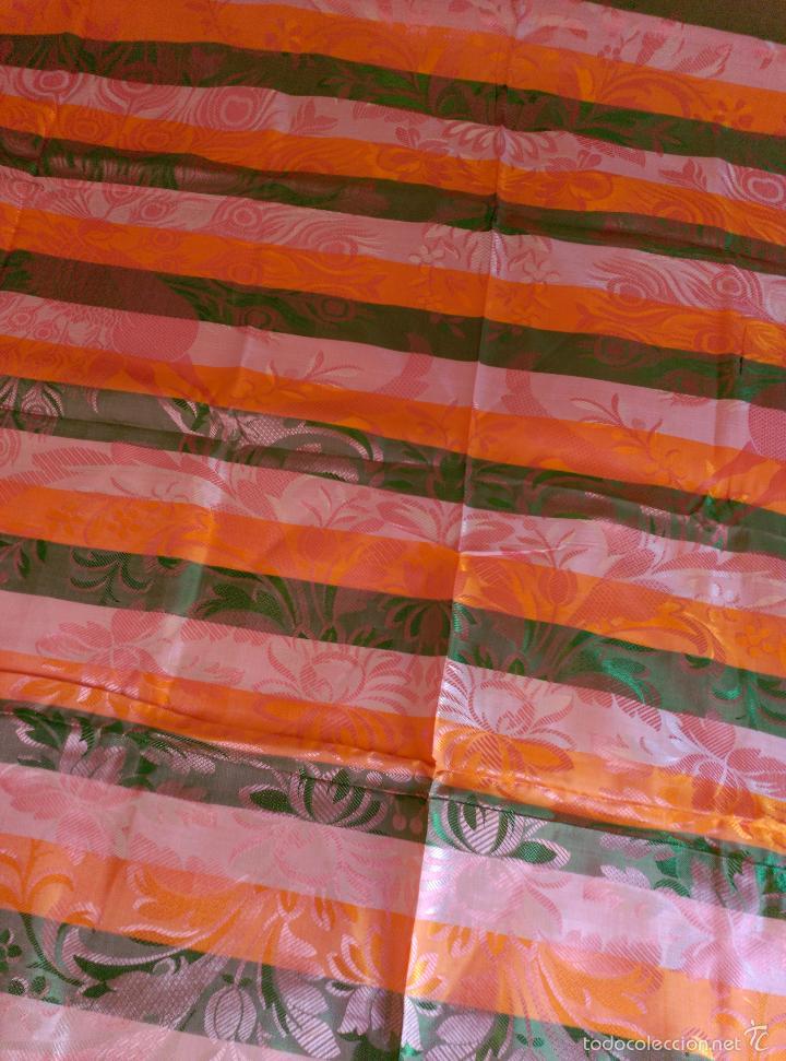 Antigüedades: Colcha antigua sedina rayas sin uso verde - Foto 7 - 55346862