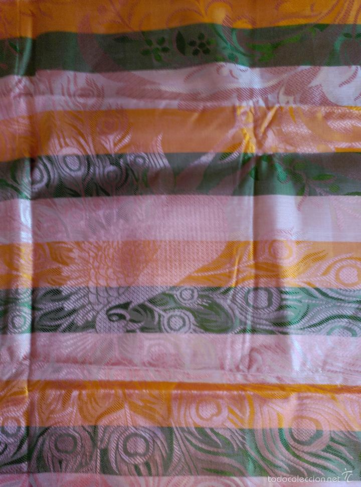 Antigüedades: Colcha antigua sedina rayas sin uso verde - Foto 8 - 55346862