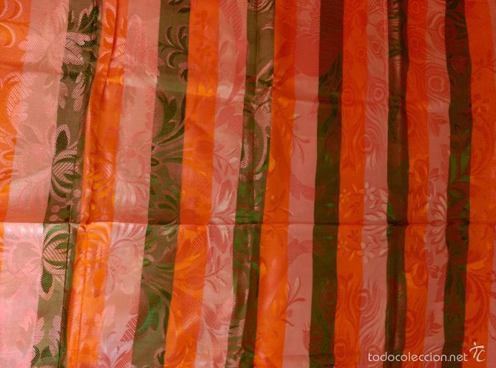 Antigüedades: Colcha antigua sedina rayas sin uso verde - Foto 12 - 55346862