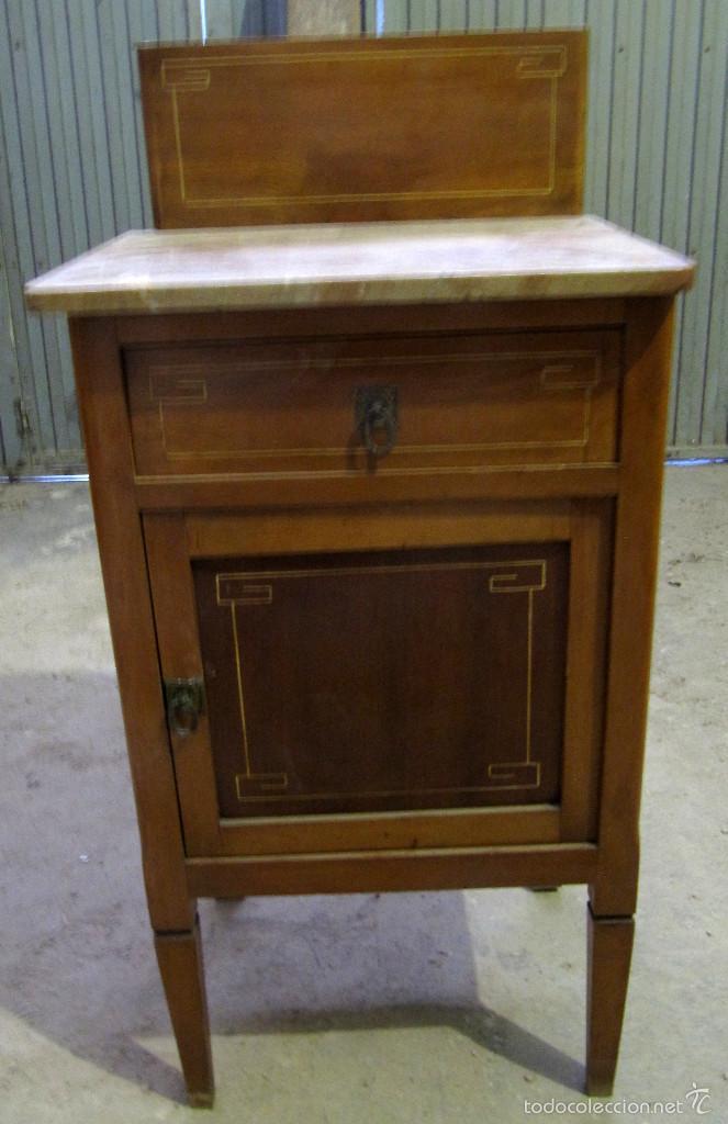 Antiguo mueble auxiliar de madera y marmol mes comprar for Mueble recibidor madera