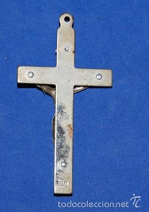 Antigüedades: CRUZ PECTORAL DE METAL PLATEADA - Foto 2 - 55391200