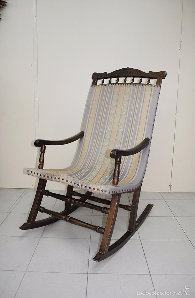 Mecedora antigua de madera y tela comprar sillones - Sillones de madera antiguos ...