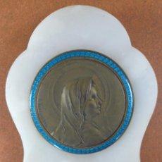 Antigüedades: ANTIGUO BENDITERO DE MARMOL CRISTAL Y METAL ESMALTADO 17,5 X 10 CM. FIRMADO S. KINSBURGER. Lote 55571393