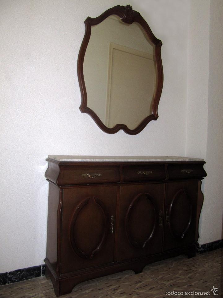 Conjunto mueble recibidor cl sico con marmol y comprar - Decoracion con muebles antiguos ...