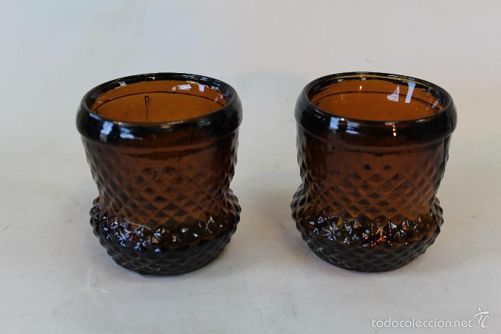Antigüedades: 2 vasos en cristal ambar de santa lucia-cartagena - Foto 4 - 55609751