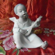 Antigüedades: ** PORCELANA DE LLADRO - ANGEL CON GUITARRA - MODELO FULGENCIO GARCIA AÑO 1970 DESCATALOGADO **. Lote 55656461
