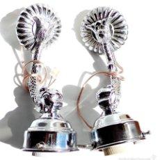 Antigüedades: LAMPARAS DE BAÑO EN FORMA DE DELFIN CROMADAS. Lote 55684388