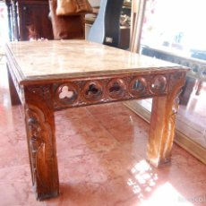 Antiquitäten - Mesa antigua de mármol y madera con relieves tallados - 55691809