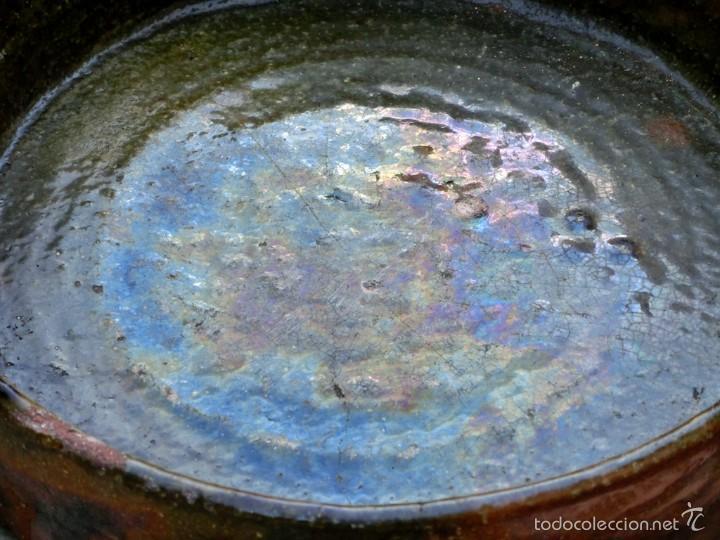 Antigüedades: CAZUELA DE BARRO VITRIFICADO - PRECIOSO TONOS VERDOSOS CON BONITOS REFLEJOS - RECIPIENTE HORNO - Foto 8 - 55692981
