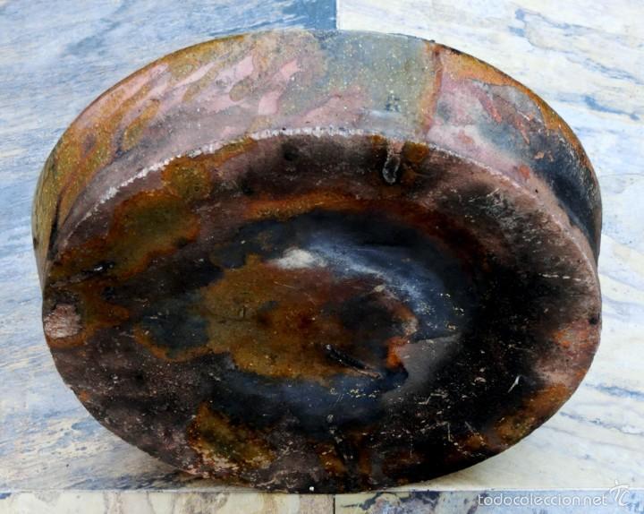 Antigüedades: CAZUELA DE BARRO VITRIFICADO - PRECIOSO TONOS VERDOSOS CON BONITOS REFLEJOS - RECIPIENTE HORNO - Foto 11 - 55692981