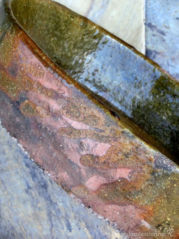 Antigüedades: CAZUELA DE BARRO VITRIFICADO - PRECIOSO TONOS VERDOSOS CON BONITOS REFLEJOS - RECIPIENTE HORNO - Foto 20 - 55692981