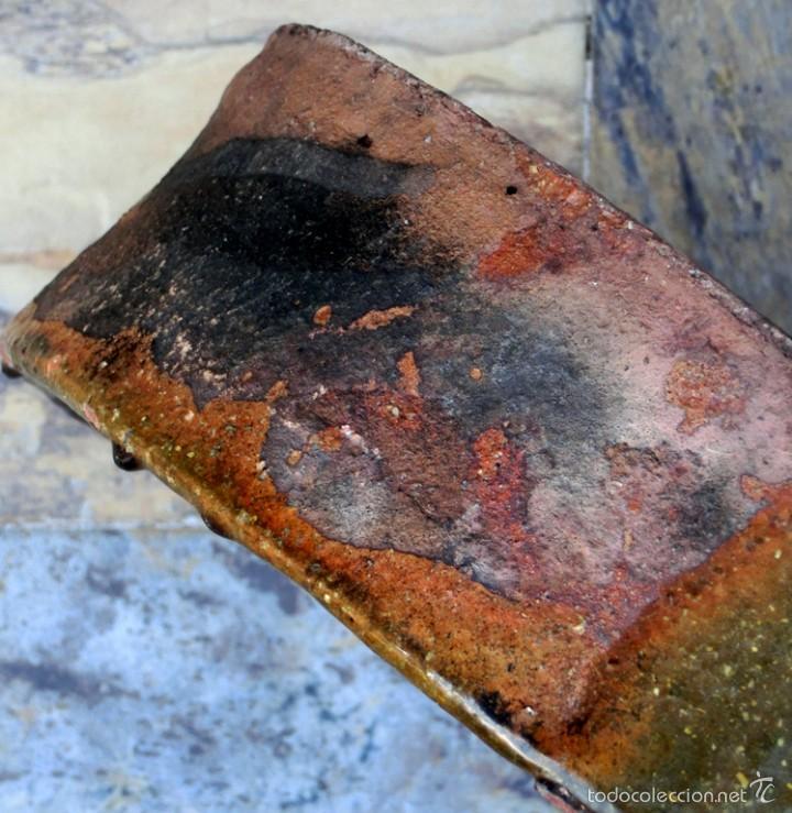 Antigüedades: CAZUELA DE BARRO VITRIFICADO - PRECIOSO TONOS VERDOSOS CON BONITOS REFLEJOS - RECIPIENTE HORNO - Foto 22 - 55692981