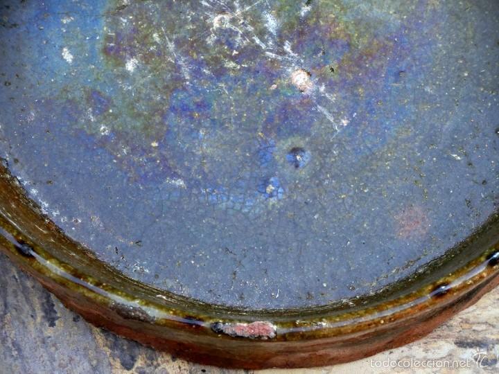 Antigüedades: CAZUELA DE BARRO VITRIFICADO - PRECIOSO TONOS VERDOSOS CON BONITOS REFLEJOS - RECIPIENTE HORNO - Foto 24 - 55692981