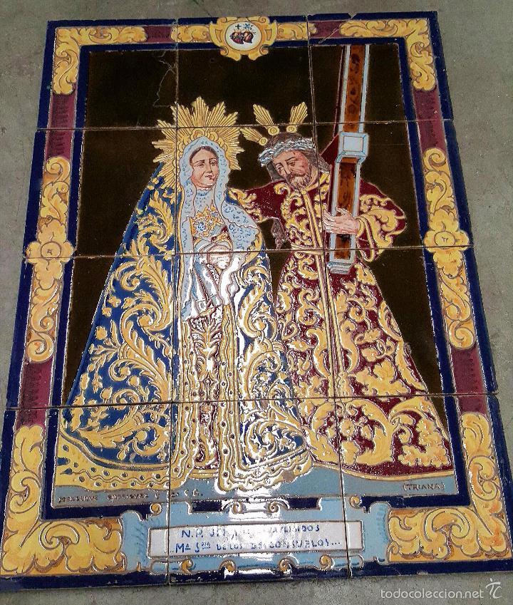N. P. JESUS DE LOS AFLIGIDOS,Mª. STA. DE LOS DESCONSUELOS,PANEL DE AZULEJOS DE TRIANA ,(SEVILLA) (Antigüedades - Porcelanas y Cerámicas - Triana)