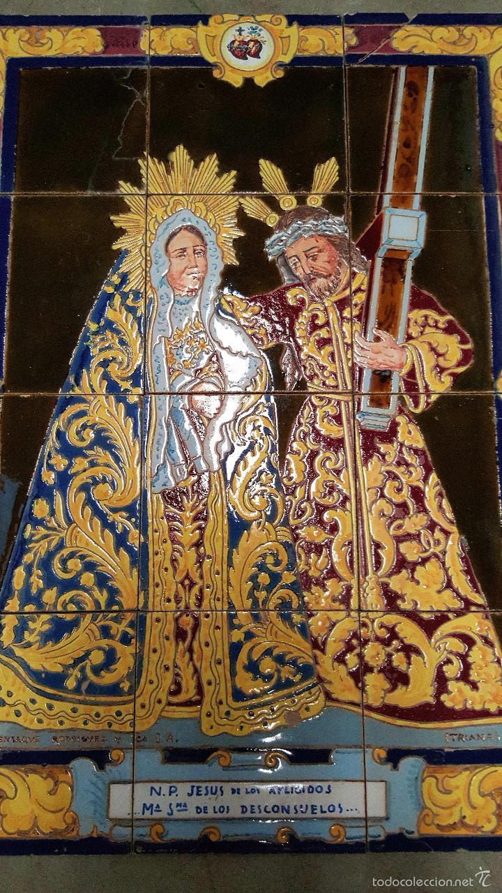 Antigüedades: N. P. JESUS DE LOS AFLIGIDOS,Mª. STA. DE LOS DESCONSUELOS,PANEL DE AZULEJOS DE TRIANA ,(SEVILLA) - Foto 2 - 55694278