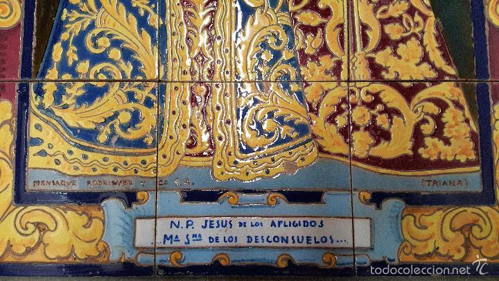 Antigüedades: N. P. JESUS DE LOS AFLIGIDOS,Mª. STA. DE LOS DESCONSUELOS,PANEL DE AZULEJOS DE TRIANA ,(SEVILLA) - Foto 3 - 55694278