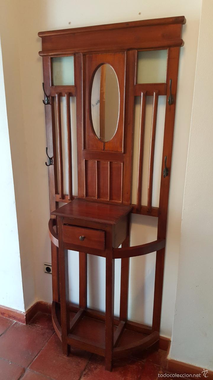 Perchero antiguo mueble de entrada con espejo vendido for Muebles antiguos reciclados