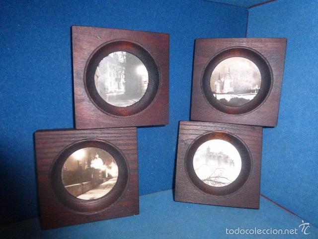 conjunto de 4 cuadros con el marco de madera y - Comprar en ...