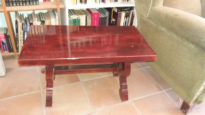 MESA AUXILIAR ESTILO RUSTICO PATA DE LIRA (Antigüedades - Muebles Antiguos - Mesas Antiguas)