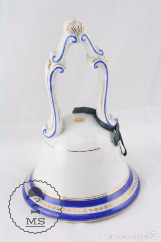 Antigüedades: Campanilla de Porcelana / Cerámica - Jäger - Casa Comercial Magrinya - Medidas 9,5 x 9,5 x 14,5 Cm - Foto 5 - 55742204