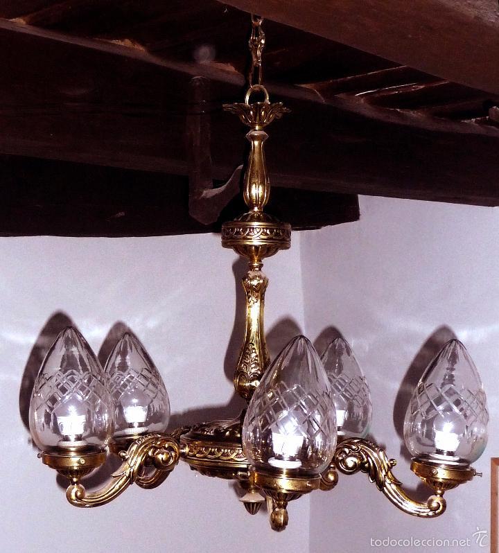 antigua lámpara de techo para comedor de latón - Comprar Lámparas ...