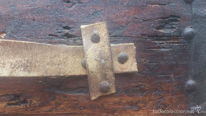 Antigüedades: ANTIGUO BAUL CON CERRADURA Y LLAVE FUNCIONANDO, SIGLO XVIII - XIX . - Foto 23 - 55788518