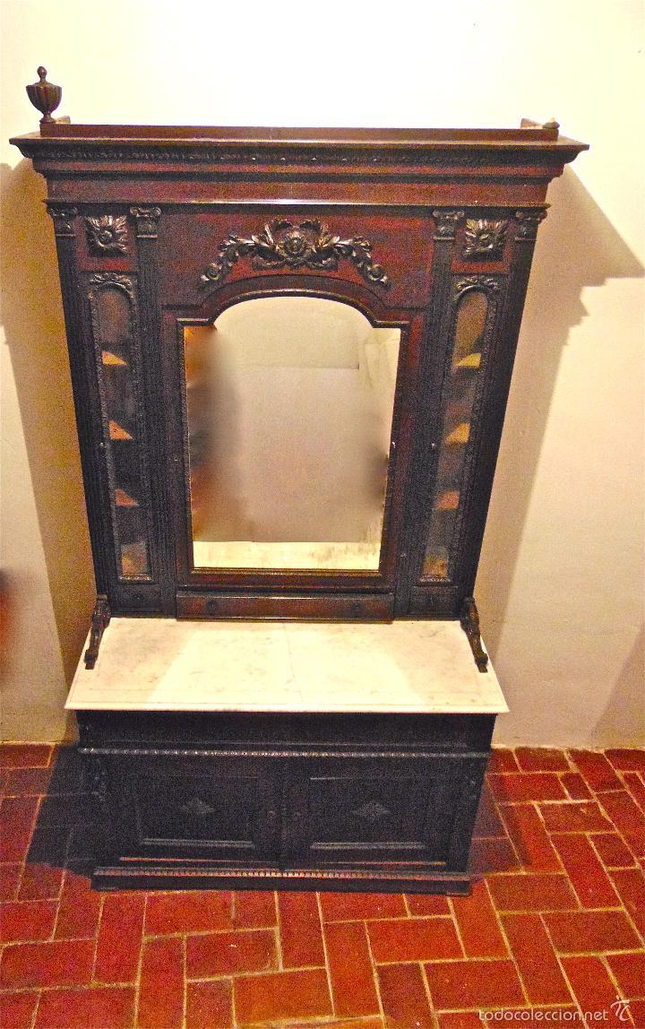 Antigüedades: MUEBLE ISABELINO (hacia 1850) EN MADERA DE PALOSANTO CON ENCIMERA DE MÁRMOL CON TALLA - Foto 13 - 46658248