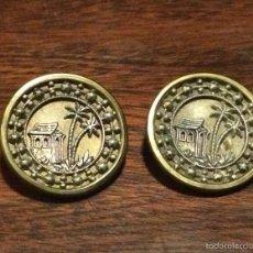 Antigüedades: BOTONES ANTIGUOS DE LATON CON PALMERAS EN RELIEVE. Lote 55805675