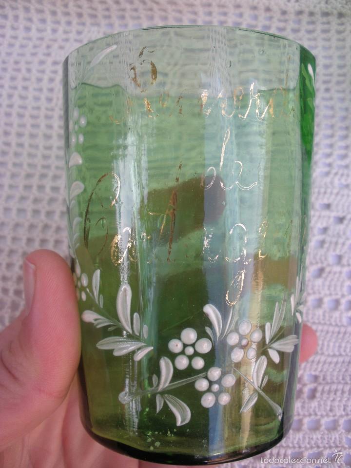 ANTIGUOS VASOS DE CRISTAL VERDE DE SANTA LUCIA CON LEYENDA RECUERDO DE CARTAGENA (Antigüedades - Cristal y Vidrio - Santa Lucía de Cartagena)