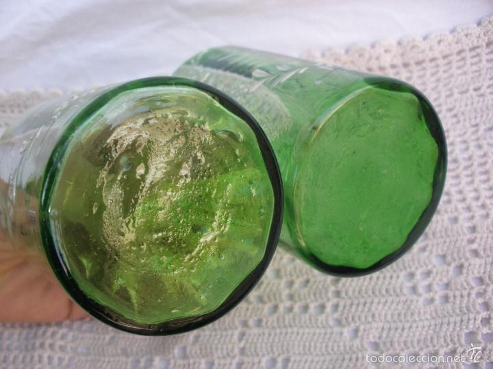 Antigüedades: ANTIGUOS Vasos de cristal verde de Santa Lucia con leyenda Recuerdo de Cartagena - Foto 4 - 55806241