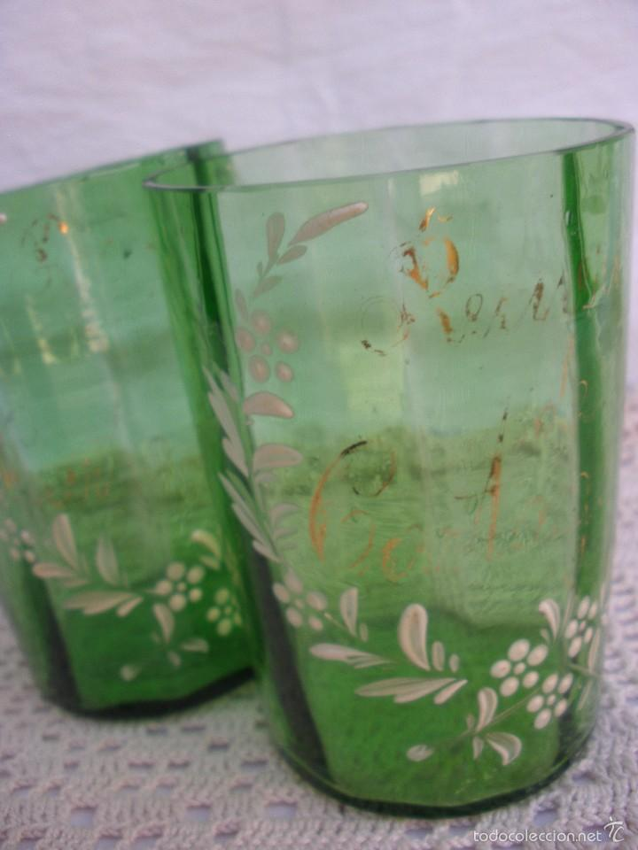 Antigüedades: ANTIGUOS Vasos de cristal verde de Santa Lucia con leyenda Recuerdo de Cartagena - Foto 6 - 55806241