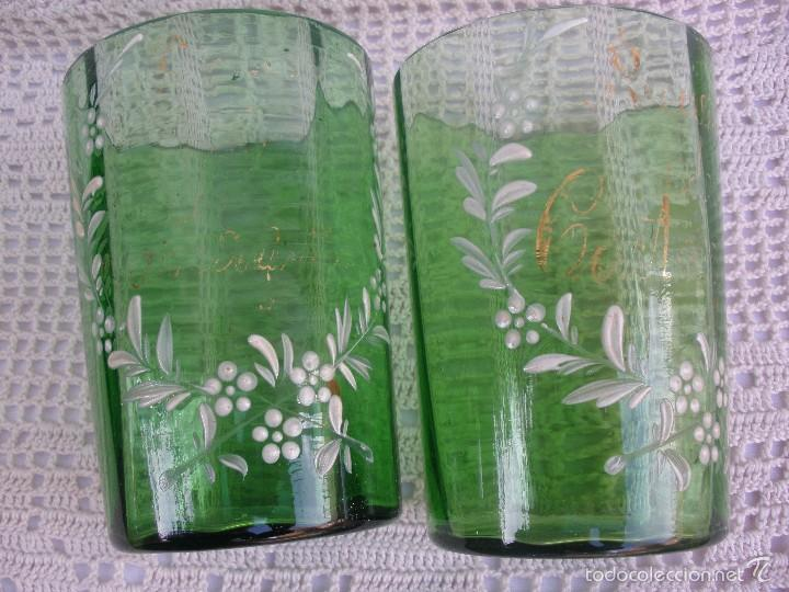 Antigüedades: ANTIGUOS Vasos de cristal verde de Santa Lucia con leyenda Recuerdo de Cartagena - Foto 7 - 55806241