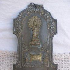 Antigüedades: ANTIGUA BENDITERA MODERNISTA DE METAL NUESTRA SEÑORA DEL CASTILLO CULLERA 1900. Lote 56130667